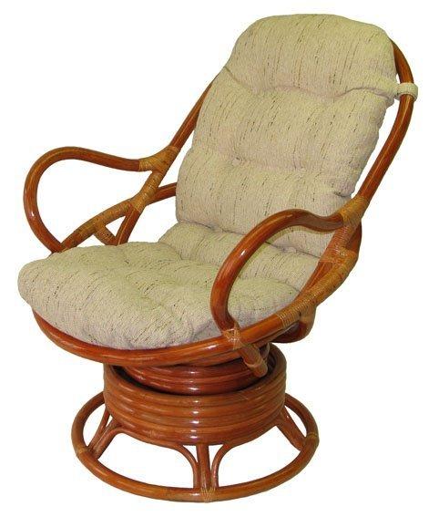 Кресло качалка из массива. Цвет светлый орех. Обивка кожа